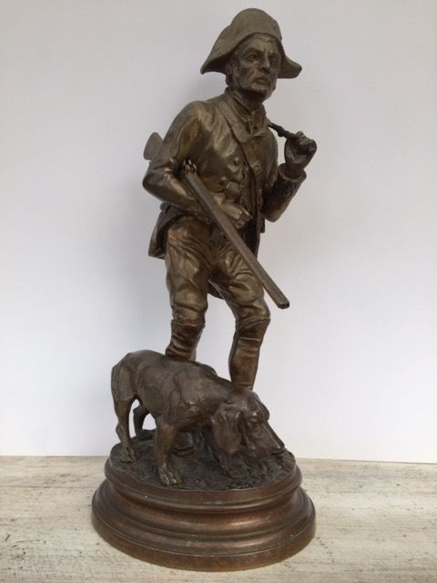 Alfred Dubucand (1828-1894) - Garde-chasse et son chien - Escultura - Bronce - siglo XIX