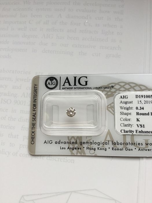 1 pcs Diamante - 0.34 ct - Brillante - K - VS1