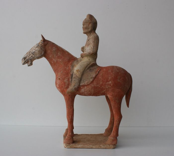 Test Figurine Cheval et Cavalier TL (1) - Terre cuite - Chine - Dynastie Tang (618–907)