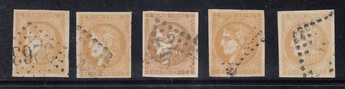 Frankrijk - Bordeaux issue - 10 cts bistre x5, signed Calves - Yvert 43A + 43B