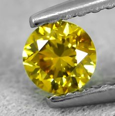 Diamante - 0.31 ct - Brilhante - Natural Fancy Vivid Yellow - Si2 - NO RESERVE PRICE - VG/VG/VG