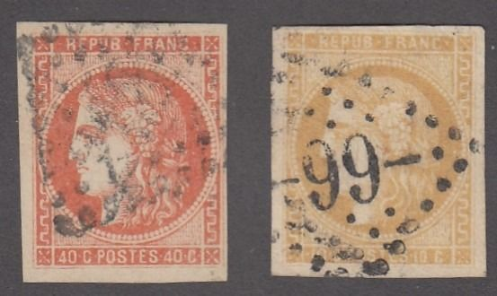 Frankrijk - Bordeaux issue, 40 centimes orange + 10 centimes sepia brown signed - Yvert 48 et 43