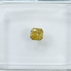 Diamante - 0.25 ct - Radiante - Natural Fancy Orangy Yellow - VS2 - NO RESERVE PRICE