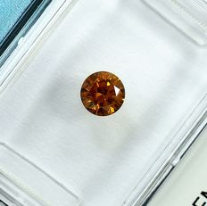 Diamante - 0.32 ct - Brilhante - Natural Fancy Deep Yellowish Orange - Si2 - NO RESERVE PRICE