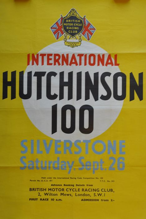 Poster - Silverstone Hutchinson 100 - British Motor Cycle Racing Club - 1960-1970
