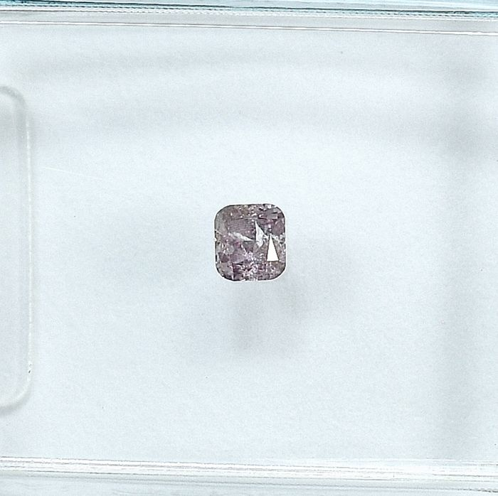 Diamante - 0.10 ct - Cojín - Natural Fancy Purplish Pink - I2 - NO RESERVE PRICE