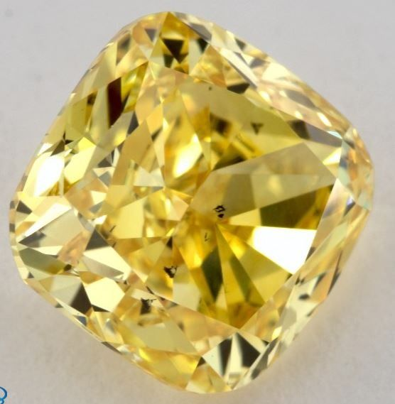 1 pcs Diamante - 1.71 ct - Almofada - fancy vivid orangy yellow - SI1