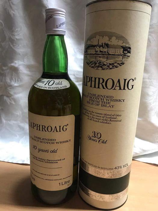 Laphroaig 10 years old Unblended Islay Malt Scotch Whisky - b. Années 1980 - 1.0 Litre