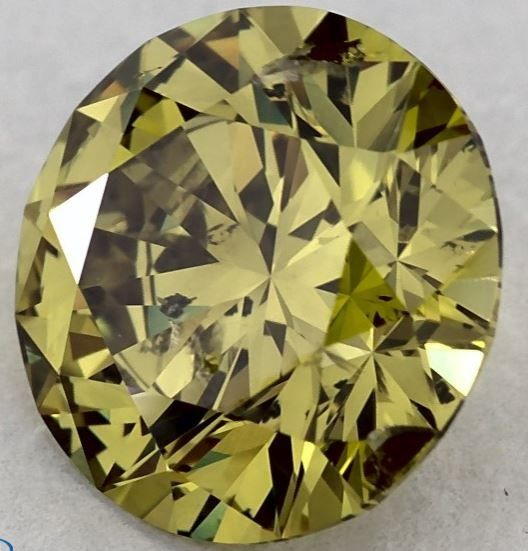 1 pcs Diamante - 1.05 ct - Brilhante, Redondo - fancy deep brownish greenish yellow - I1