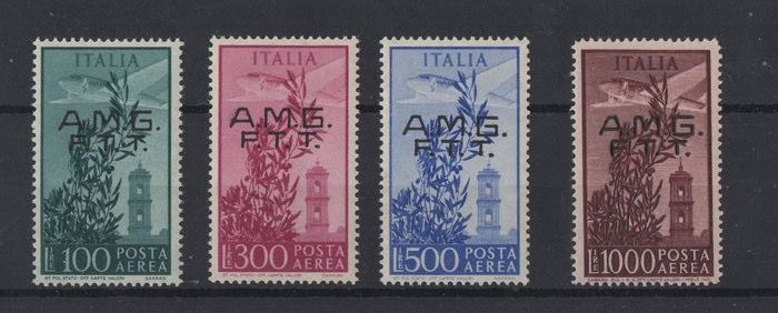"Triest - Zone A 1948 - ""Capitol"" set, airmail stamps overprinted on two rows - Sassone S.43."