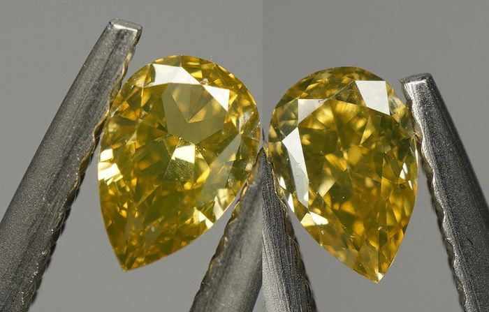 2 pcs Diamant - 0.51 ct - Birne, Variation - Natural Fancy Intense Greenish Yellow - VVS1-No Reserve