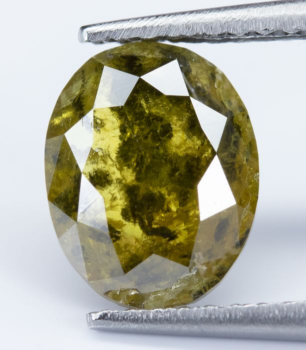 Diamante - 1.39 ct - Amarillo profundo verdoso natural - I2  *NO RESERVE*
