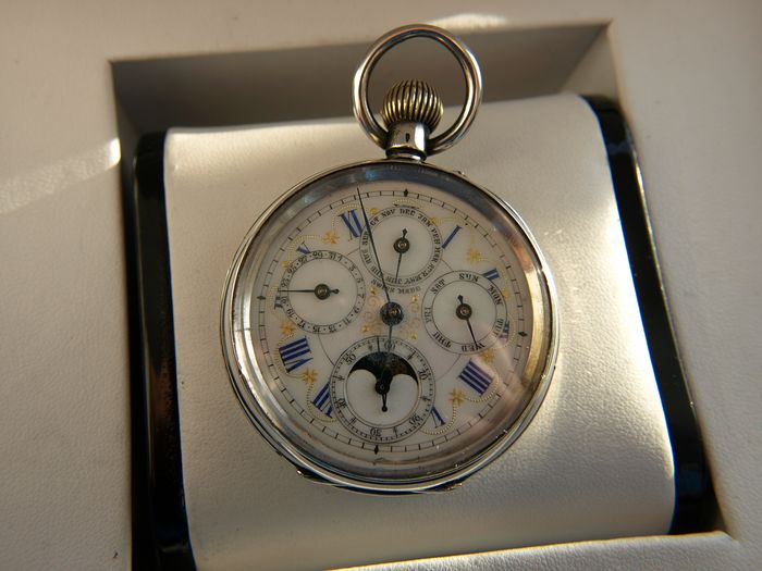 Swiss pocket watch -  triple calendar with Moonphase - 65504 - Homme - 1850-1900