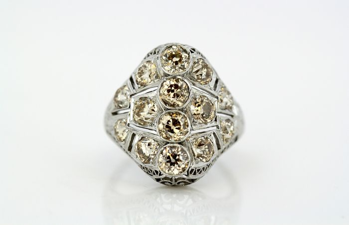 1950's Platina - Ring Cognac Diamond - Diamanten