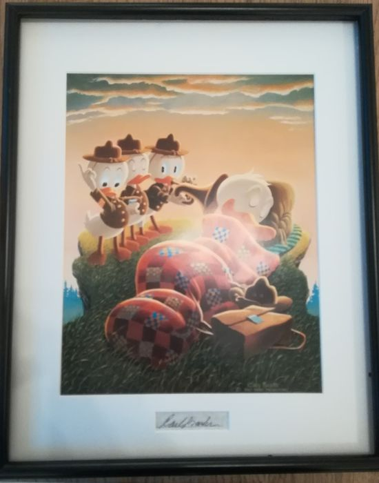 Carl Barks, framed and matted print with signature insert No Reserve - Rude Awakening - Other