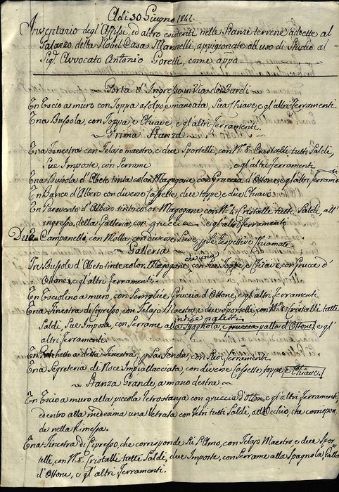 Luigi Mannelli Senator - Manuscript; Inventory from a Noble Palace House in Florence - 1841