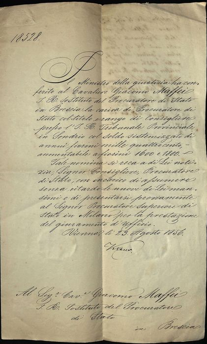 Manuscript; Appointment of state attorney and court advisor of Sondrio (Lombardy-Veneto Reign) - 1856