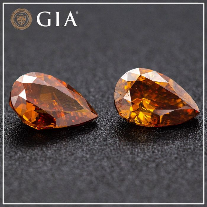 2 pcs Diamant - 2.01 ct - Poire - fancy deep brownish yellowish orange - GIA