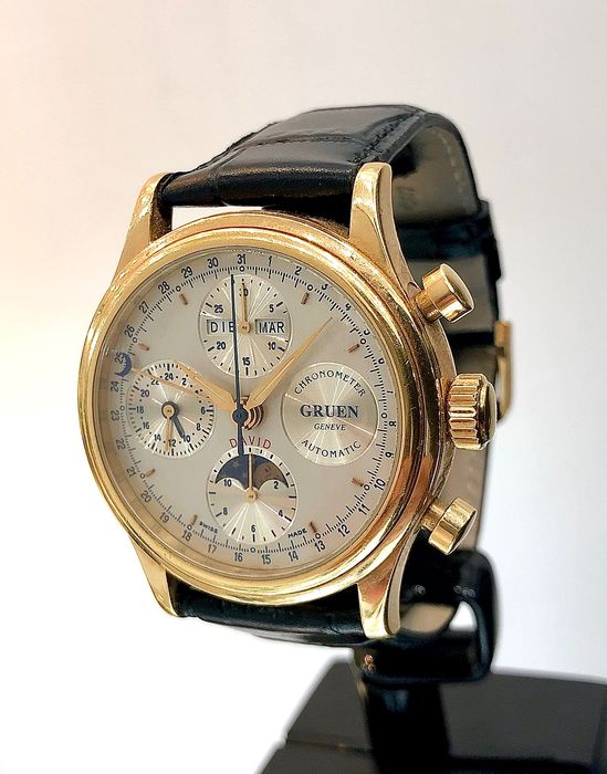Gruen - Triple Date Moonphase. Chrono-Automatic. 18 ct Gold. - Homme - 1980-1989