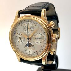 Gruen - Triple Date Moonphase. Chrono-Automatic. 18 ct Gold. - Herren - 1980-1989