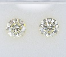 2 pcs Diamante - 1.17 ct - Redondo - light yellow - SI1, VVS2, No Reserve Price!