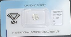 Diamond - 1.18 ct - Rotund - G - IF (perfect), LC (lupă curată)