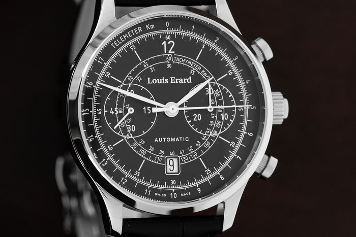 Louis Erard - Automatic Chronograph Excellence Vintage Collection Black leather strap Swiss Made - 71245AA02.BDC02 - Herren - Brand New