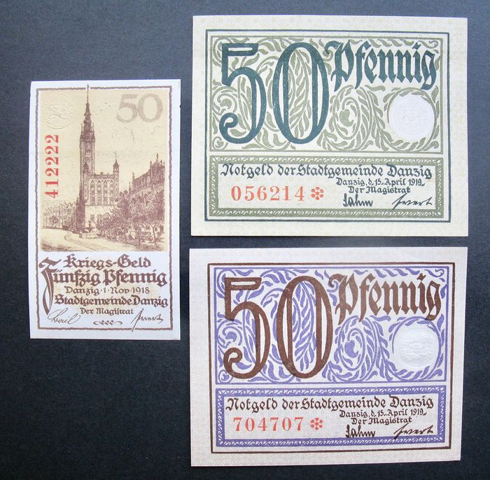 Danzig - 50 Pfennig  1918/1919 (3 different notes) - Pick 9, 11 and 12