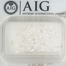 126 pcs Diamantes - 1.01 ct - Corte único redondo - D (incolor), E, F - SI1, SI2, SI3, VS2, ***No Reserve Price***