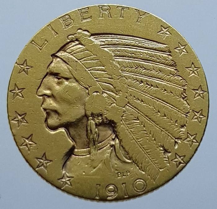 États-Unis - 5 Dollars 1910 Indian Head - Or