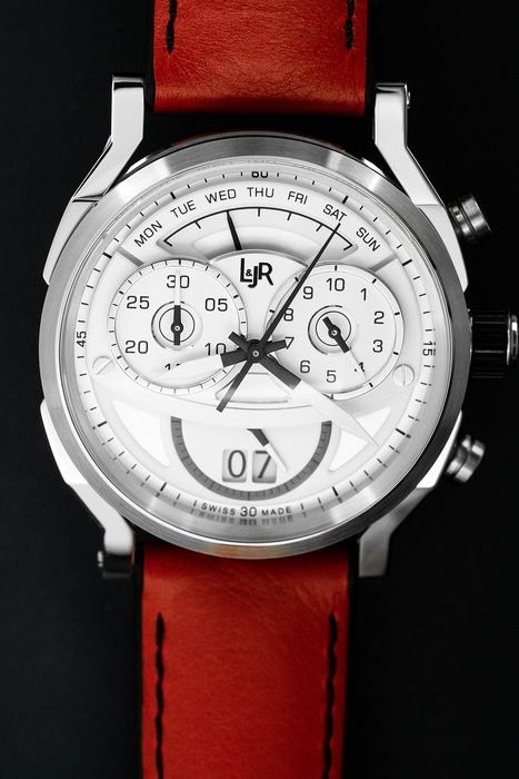 L&Jr - Chronograph Day Date White Dial Red Strap Swiss Made - S1504 - Homme - Brand New