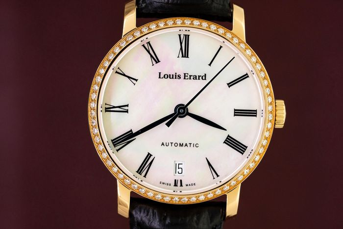 Louis Erard - 64 Diamonds 0.62 Carat Automatic Excellence Collection Mother of Pearl Dial Rose Gold Swiss Made - 68235PS04.BARC62 - Women - Brand New