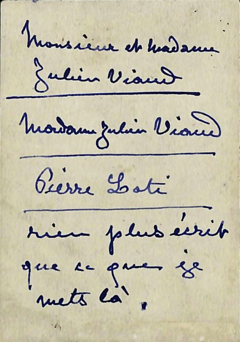 Manuscript; Coquelin Codet Business Card (not autographed) for Pierre Loti and Others - 1880/1890