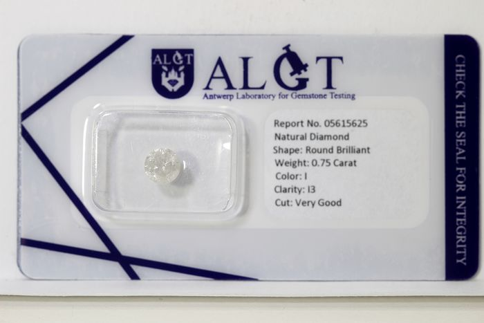 Diamante - 0.75 ct - Brilhante - I - I3 - * NO RESERVE PRICE *