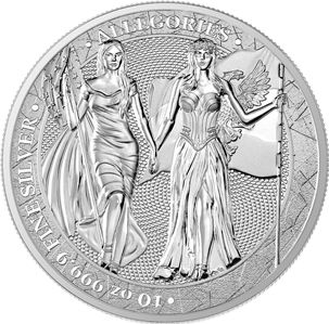 Allemagne - 50 Mark 2019 The Allegories – Columbia & Germania - 10 Oz - Argent