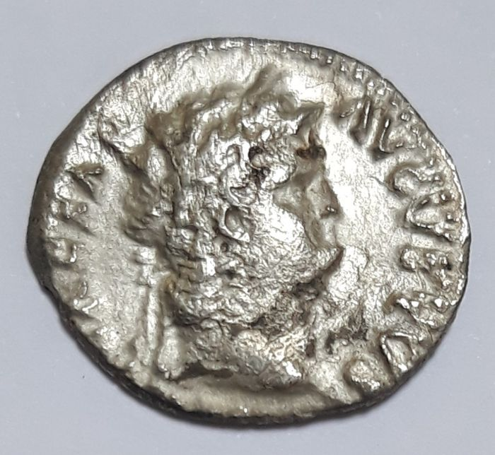 Roman Empire - AR Denarius, Nero (AD 54-68) - Salus seated left with patera - Silver