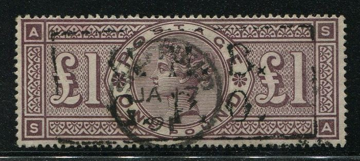 1884 - £1 brown-lilac watermark Crowns - Stanley Gibbons SG185