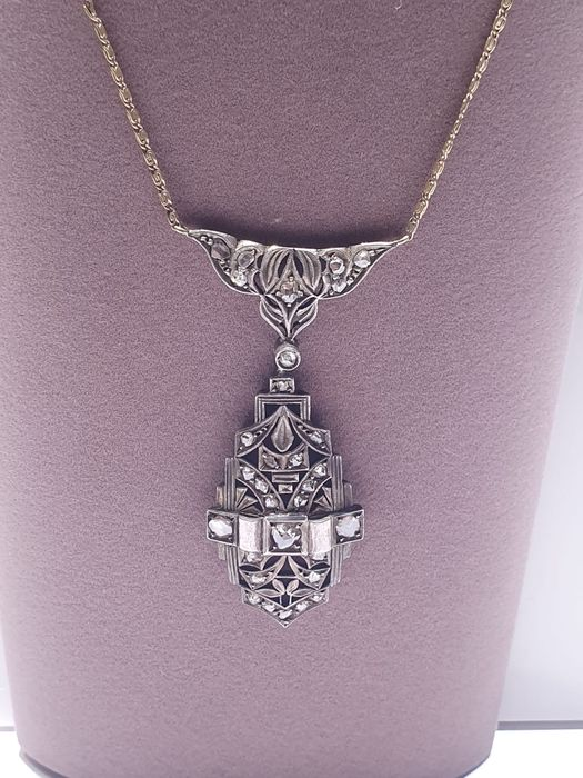 14 KT Or - Collier - 0.72 ct Diamant - Diamants