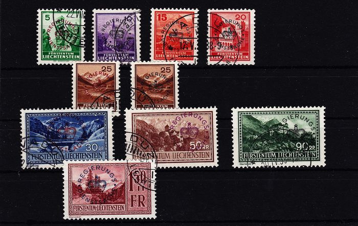 Liechtenstein 1934 - Official stamps, larger overprint - ANK Vierländerkatalog 11/19 +15b