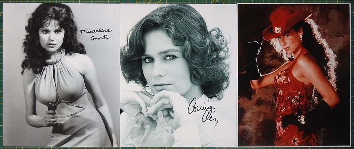 James Bond - 007 - Set of 3 - signed with Coa - Autógrafo, Fotografía Madeline Smith (Live And Let Die), Corinne Clery (Moonraker), Minnie Driver (GoldenEye)