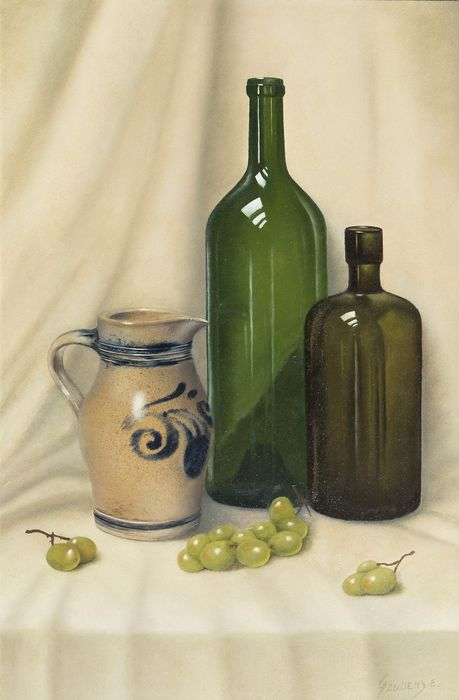 Emile Geudens (1926-2011) - Still life with wine bottle and grapes