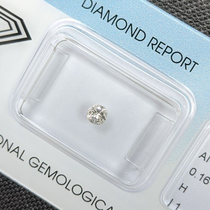 Diamante - 0.16 ct - Brilhante - H - I1, IGI Antwerp - No Reserve Price