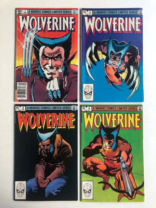 Wolverine #1 - #4 - Frank Miller's Famous 1st Limited Series  -  Complete Set -  All Very High Grade!! - Capa mole - Primeira edição - (1982)