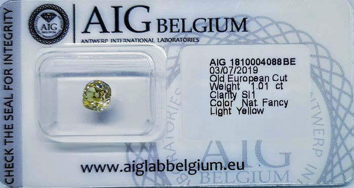 1 pcs Diamante - 1.01 ct - Corte Europeu velho - fancy light yellow - SI1