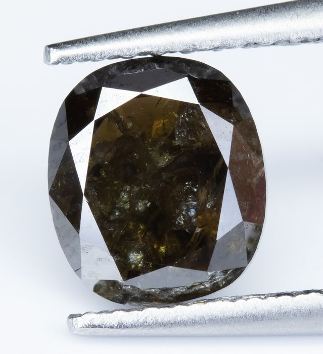 Diamante - 1.42 ct - Fantasia Natural Castanho Escuro Castanho - I2 *NO RESERVE*