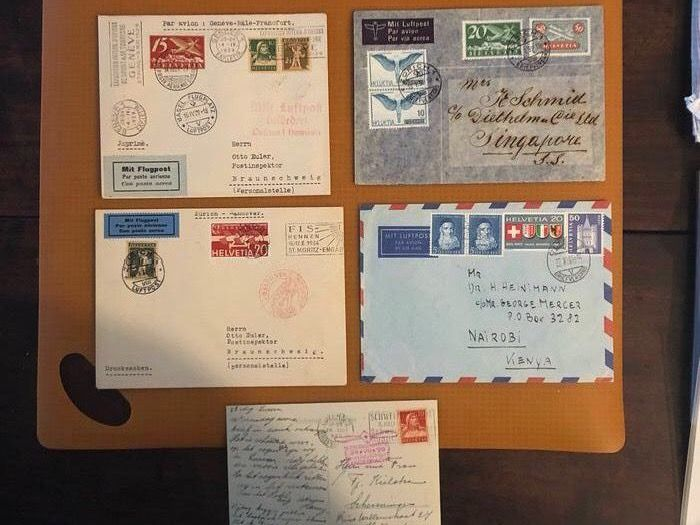 Switzerland 1929/1965 - 5 special airmail letters CH