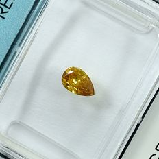 Diamant - 0.23 ct - Pære - Natural Fancy Intense Orangy Yellow - Si2 - NO RESERVE PRICE