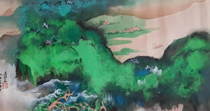 Watercolour - Rice paper - 《张大千-泼彩山水》 landscape Made after Zhang Daqian - China - Late 20th century