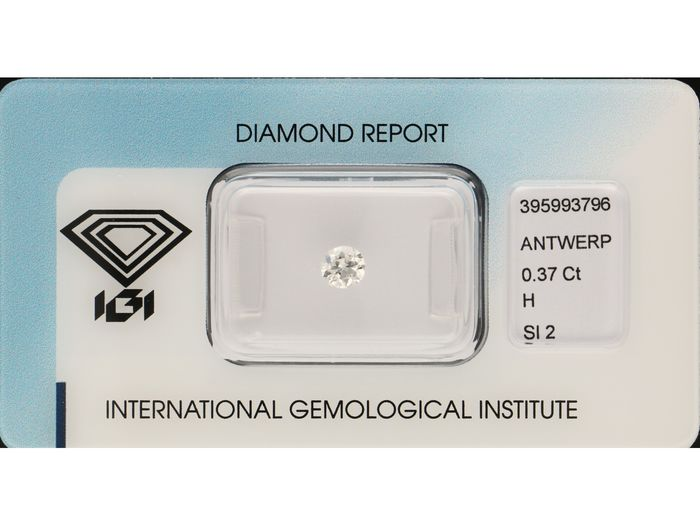 1 pcs Diamante - 0.37 ct - Corte europeu velho - H - Si2 ***No Reserve***