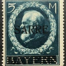 Saarland 1920 - 5 Mark. Overprint on Bayern MI 107 - Michel 30